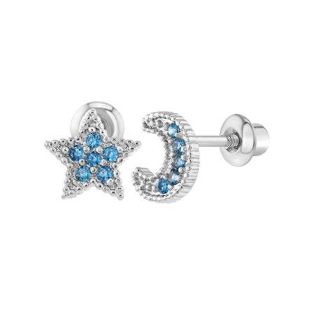 In Season Jewelry Rhodium Plated Screw Back Earrings Toddlers Little Girls Kids Blue CZ Moon Star (Toddler Jewelry)