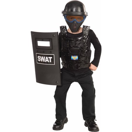 SWAT Police Costume Chest Armor Cop Helmet Shield Child Halloween Accessory Set for $<!---->