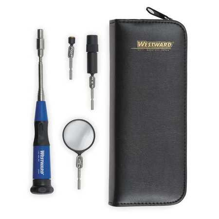 Westward 6-3/8 to 27.025, Inspection Mirror Kit, Telescoping With Changeable Heads, 1VUB4