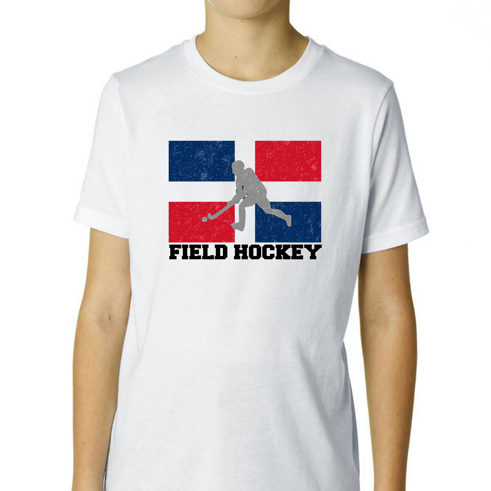 Dominican Republic Olympic Field Hockey Flag Boy's Cotton Youth T-Shirt by Hollywood Thread