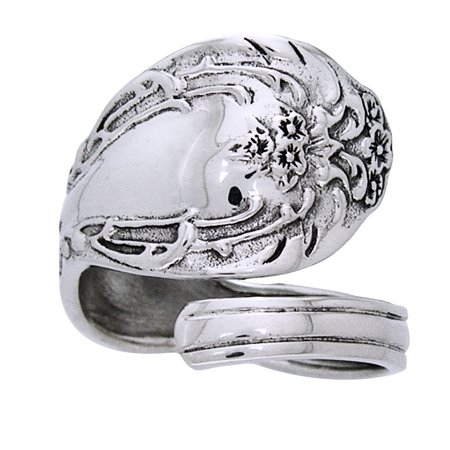 Ornate Sterling Silver Adjustable Spoon (Floral Spoon Ring)