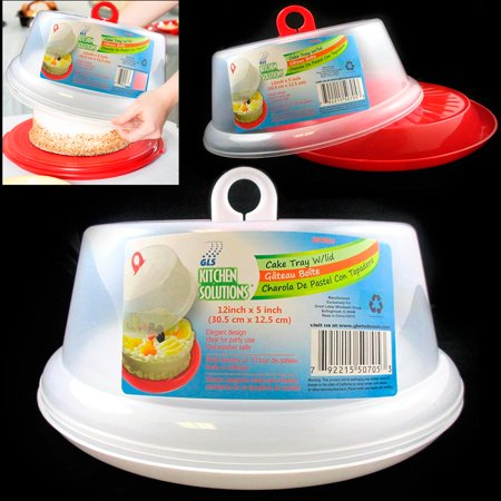 1 Cake Tray Cover Carrier Saver Pie Portable Dessert Holder Container Plastic (Cake Carrier Bag)