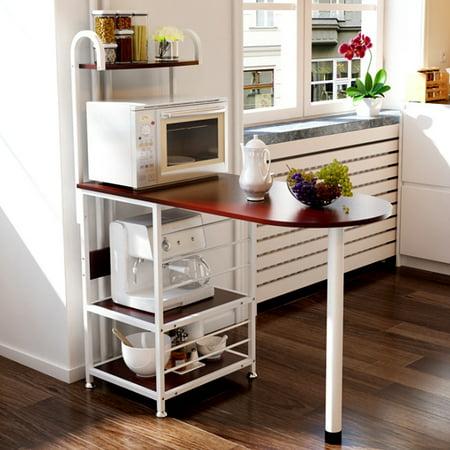 AUGIENB 4-Tier Kitchen Standing Bakers Baker's Rack Kitchen Island Dining Cabinet Basket Storage Shelves Organizer Utility Microwave Oven Workstation Shelf, 43.3