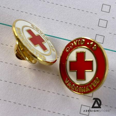 2 Vaccinated COVID-19 Coronavirus enamel Lapel Pin Covid19 Bage gold plated pin Brooch memorial for bag shirt red cross alert symbol