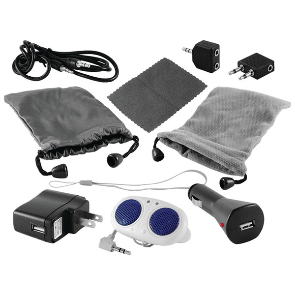 Ematic 10-in-1 Accessory Kit for MP3 Players and Apple iPod with Chargers, Speakers and More