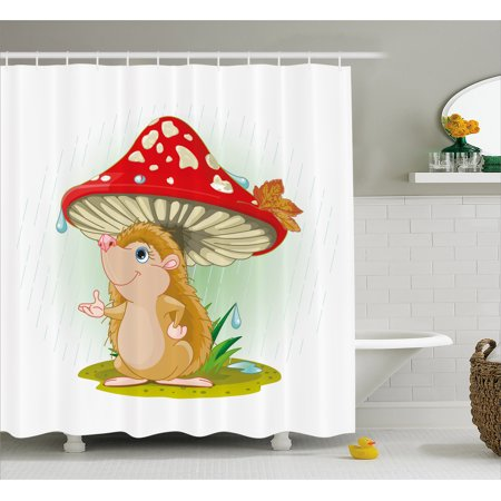 Hedgehog Shower Curtain, Cute Hedgehog Sheltering from the Rain under an Oversized Mushroom Vivid Colors, Fabric Bathroom Set with Hooks, 69W X 84L Inches Extra Long, Multicolor, by Ambesonne ()