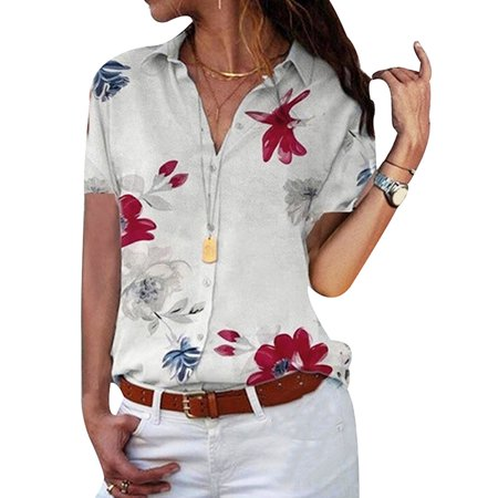 DYMADE Women's Button Up Blouses V Neck Floral Work Casual Short Sleeve Shirt