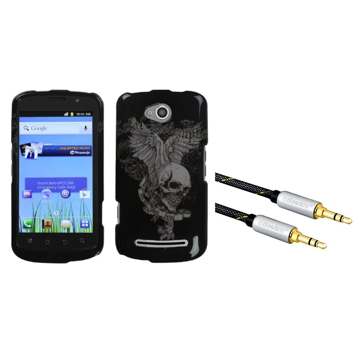 Insten Skull Wing Phone Case for COOLPAD: 5860E (Quattro 4G) (+3.5mm Aux Auxiliary Audio Stereo Extension M/M Cable)