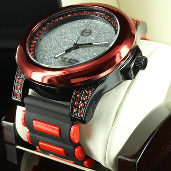 Techno Pave Silicon Band Icy Black Gold Finish Red Dial Lab Diamond Mens Watch