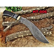 "14"" Long hand forged Damascus steel hunting Kukri Knife, Engraved Buffalo Horn with Brass & blue fiber scale, Cow hide Leather sheath"