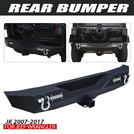 QUAKEWORLD Off Road Textured Black Different Trail Rear Bumper,Climber Back Bumper w/Hitch Receiver & 2 x 20W LED Accent Lights for Jeep Wrangler JK 2007-2017,1 Year