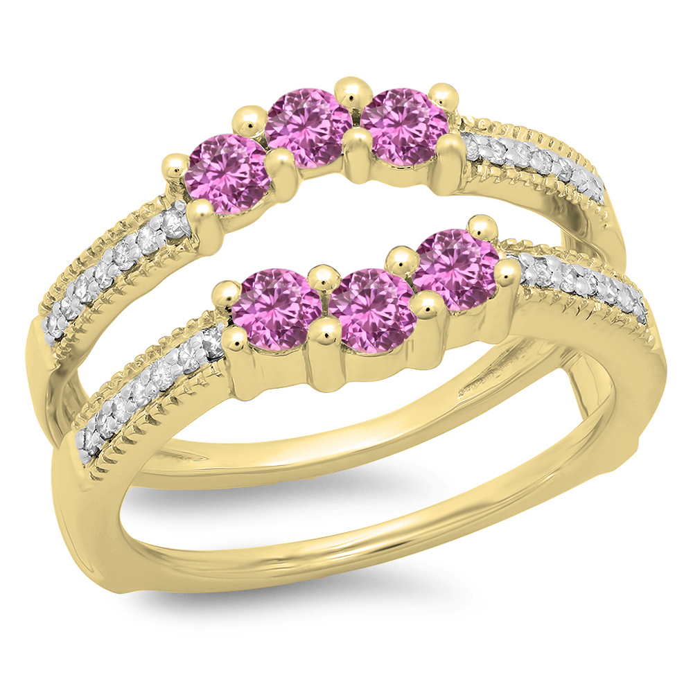 0.80 Carat (ctw) 10K Yellow Gold Round Cut Pink Sapphire & White Diamond Ladies Anniversary Wedding Band 3 Stone Enhance