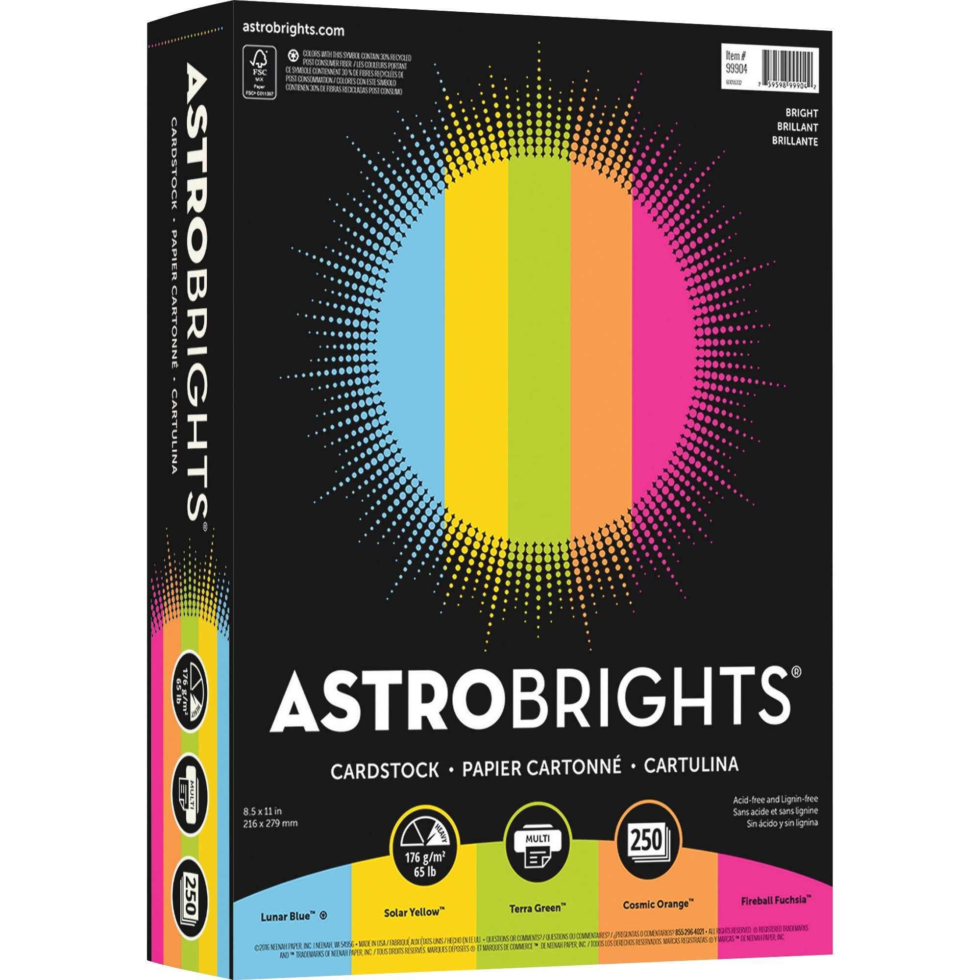 Astrobrights, NEE99904, Colored Cardstock Paper Assortment, 250 / Pack, Lunar Blue,Solar Yellow,Terra Green,Fireball Fuschia,Cosmic Orange