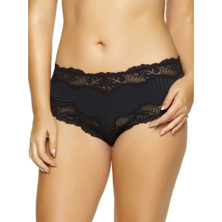 Paramour by Felina | Stripe Delight Hipster | Panty | Lace | Mid RIse (Black, (Striped Hipster)