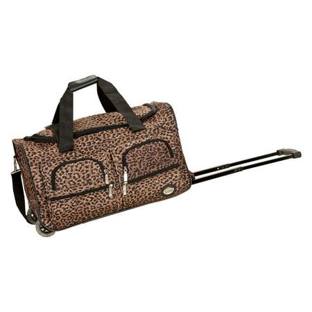 Leopard Print Rolling Duffle Bag