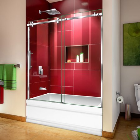 DreamLine Enigma Sky 56-60 in. W x 62 in. H Frameless Sliding Tub Door in Polished Stainless Steel