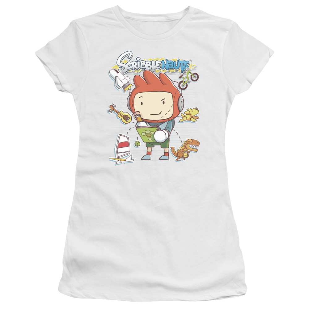 Scribblenauts Puzzle Action Video Game Scribble Things Juniors Sheer T-Shirt Tee