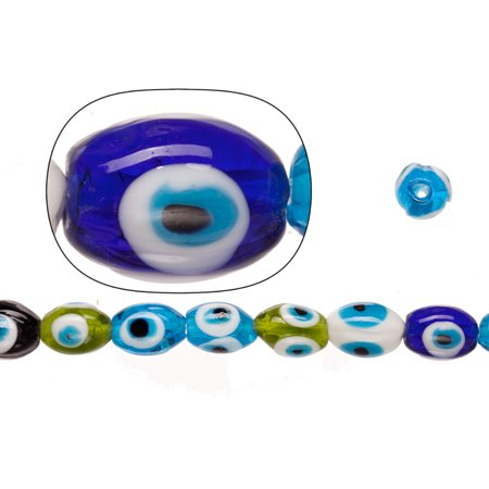 Glass Beads Mix Color Evil Eye Amulet Design 125x16mm Oval Sold