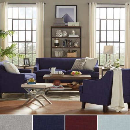 Inspire q winslow concave arm modern 3 piece living room set twilight blue linen for 8 piece living room set