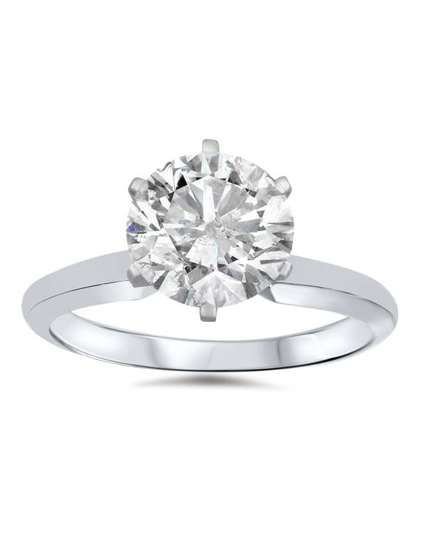 1 3 4ct Solitaire Round Clarity Enhanced Diamond Engagement Ring 14K White Gold by Pompeii3
