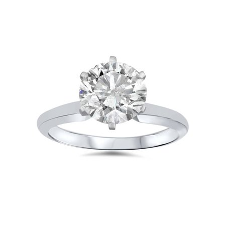 1 ct Round  Diamond Solitaire Engagement Ring 14K White Gold