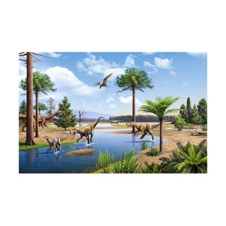 Two Herrerasaurus Dinosaurs Chasing a Silesaurus Down a Stream Print Wall Art (Halloween 2 Stream)