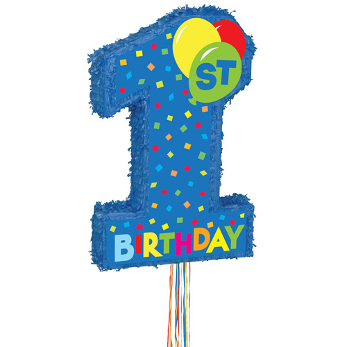 Blue 1st Birthday Pull String Pinata