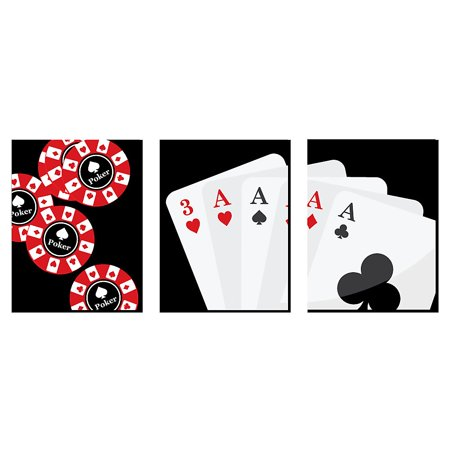 """Las Vegas - Kids Room Décor and Poker Game Room Home Decorations - 7.5"""" x 10"""" - Set of 3 Prints"""
