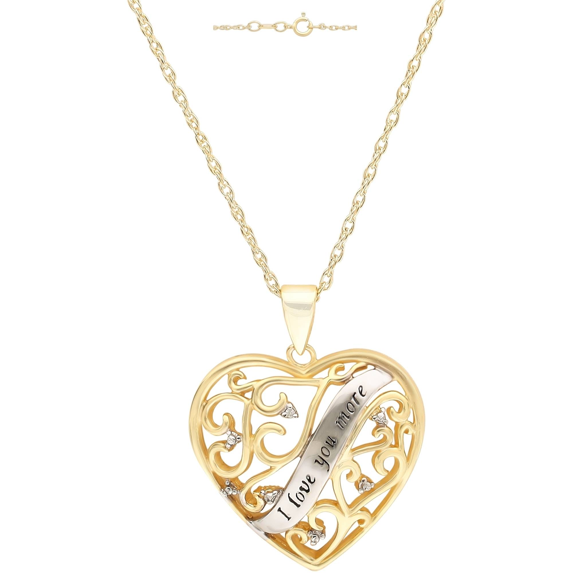 """Diamond-Accent 18kt Yellow Gold over Sterling Silver """"I Love You More"""" Heart Pendant, 18"""