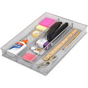 ybm home in-drawer silverware organizer with dividers, kitchen drawer organizer with 3 compartments for utensils, cutlery and office supplies storage