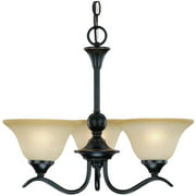 Hardware House Dover 3-Light Chandelier with Amber Glass