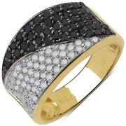 Malaika  Yellow Goldplated Sterling Silver 1 1/5Ct Tdw Black And White Diamond Ring