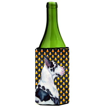 Great Dane Candy Corn Halloween Portrait Wine bottle sleeve Hugger - 24 - Wine Bottle Cork Halloween Costume