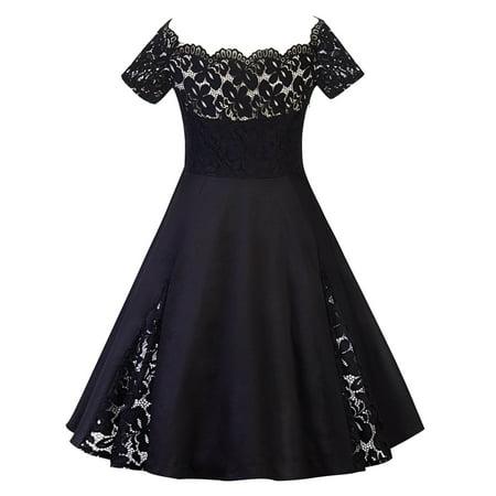 Plus Size Women Vintage Off Shoulder Lace Dress Short Sleeve Retro 50s 60s Rockabilly Evening Party Swing Prom Dresses