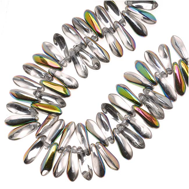 Czech Glass 3 x 10mm Dagger Beads - Crystal Vitrail  (50)
