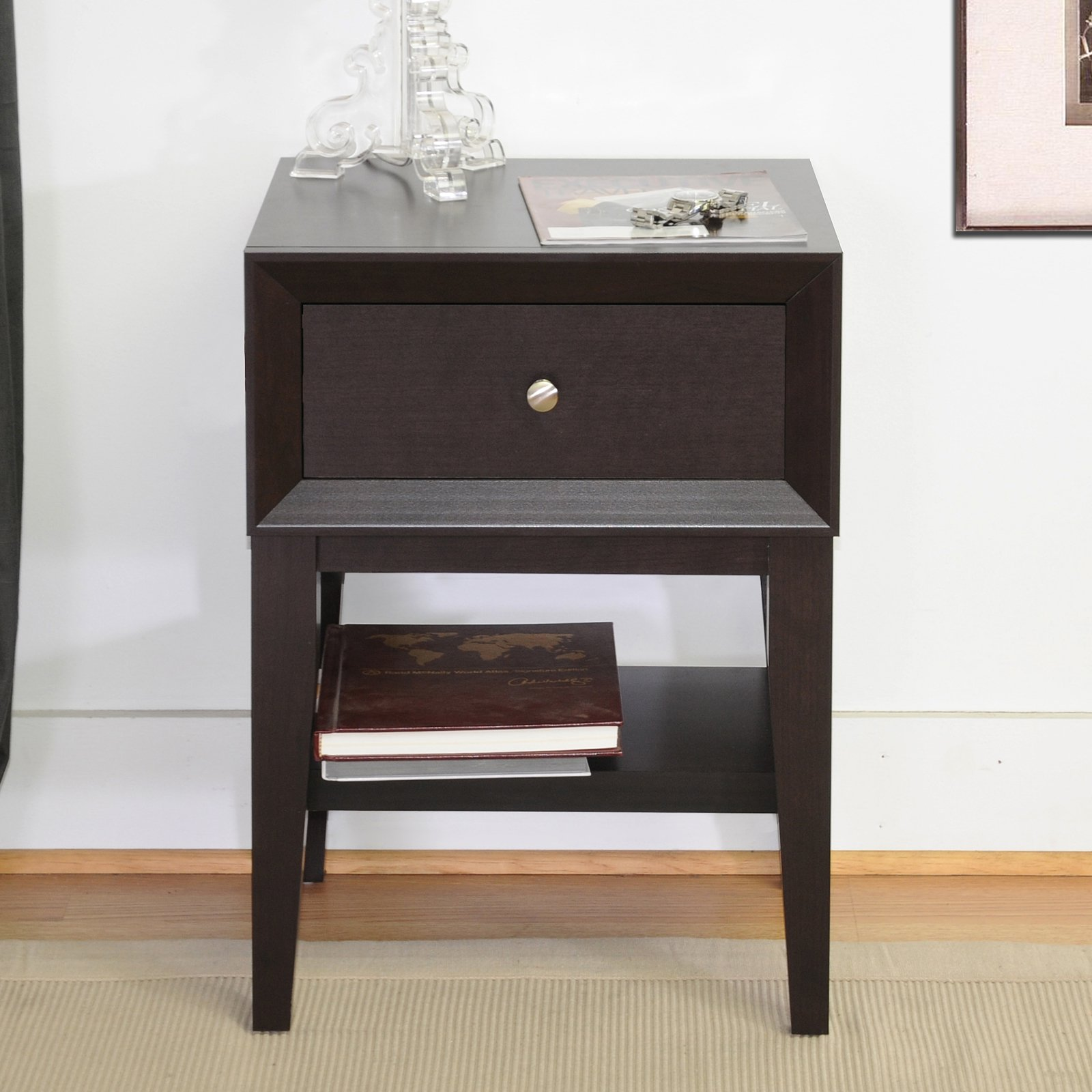 Baxton Studio Gaston 1 Drawer Nightstand