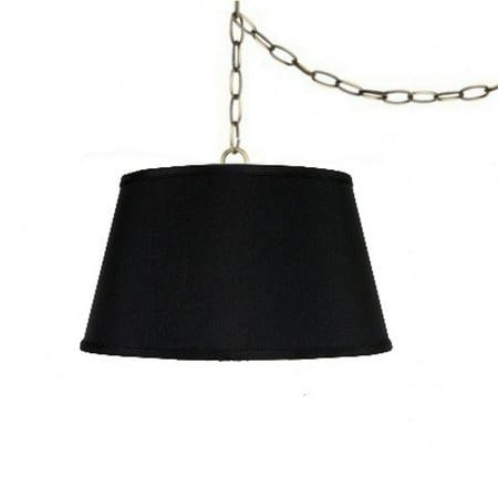 Swag Lamp Fixture 19 Inch Laminated Silk Pendant Lamp Shade in Black Hanging