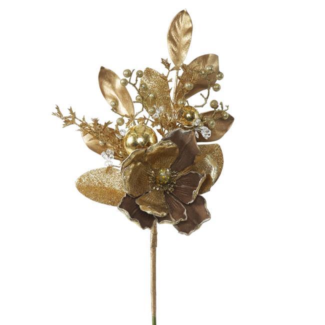 Gold Magnolia Floral Spray - 22 in. - 3 Per Bag - image 1 de 1