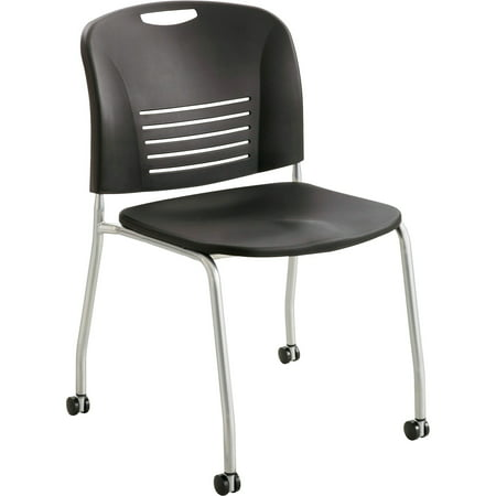 Safco Contour Stack Chair (Safco, SAF4291BL, Vy Straight Leg Stack Chairs with Casters, 2 / Carton, Black)