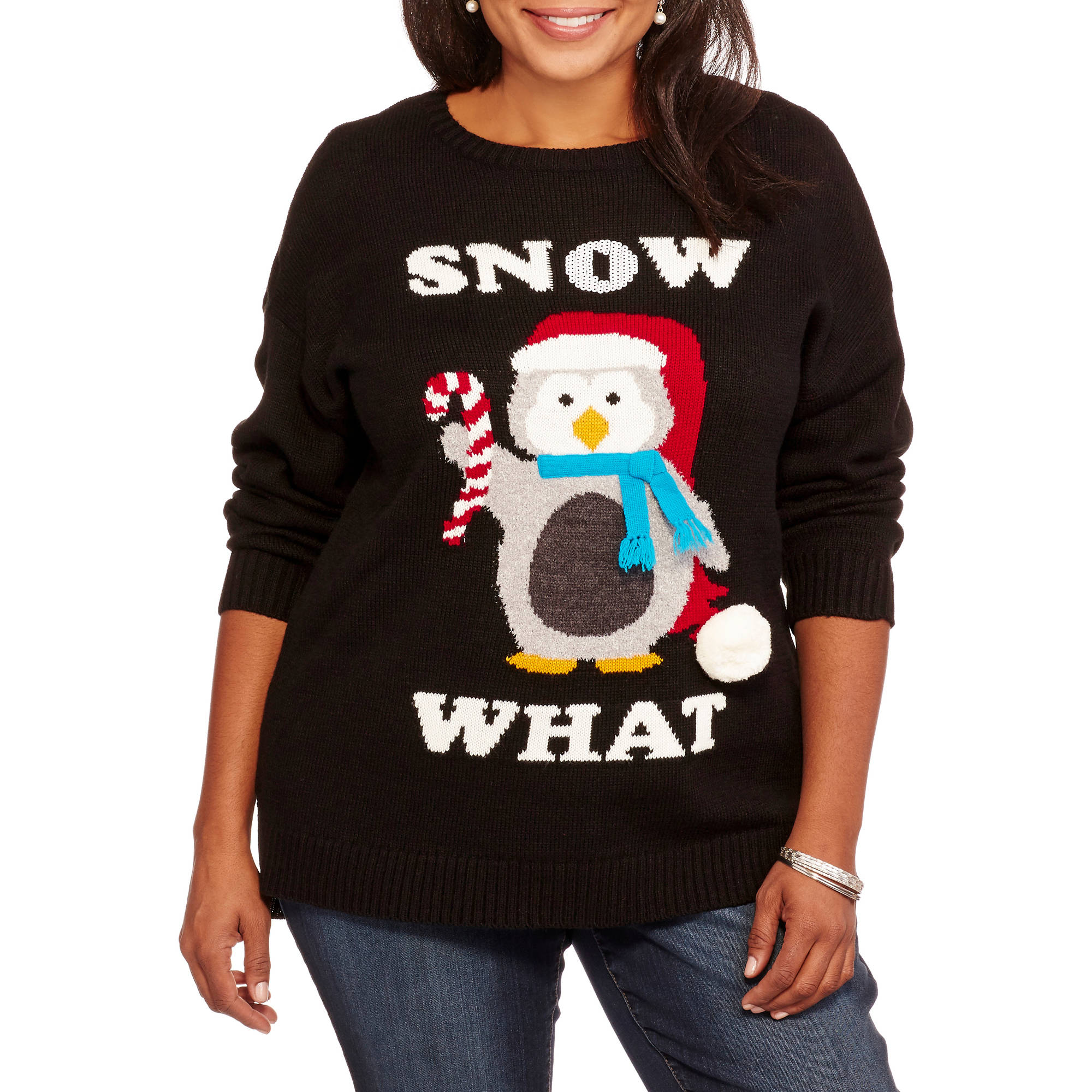Holiday Women's Plus Snow What Pullover Christmas Sweater
