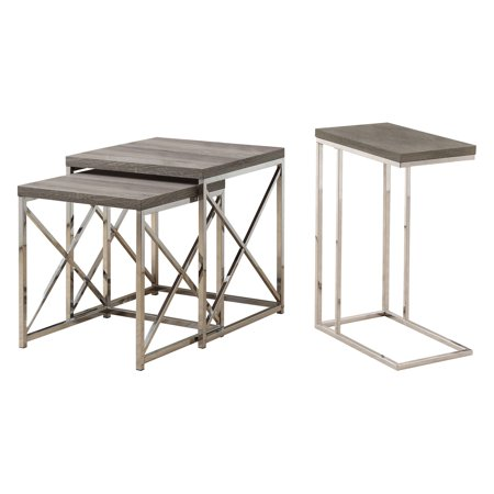 Monarch Contemporary Accent 2-Piece Dark Taupe Nesting End Tables & Side Table