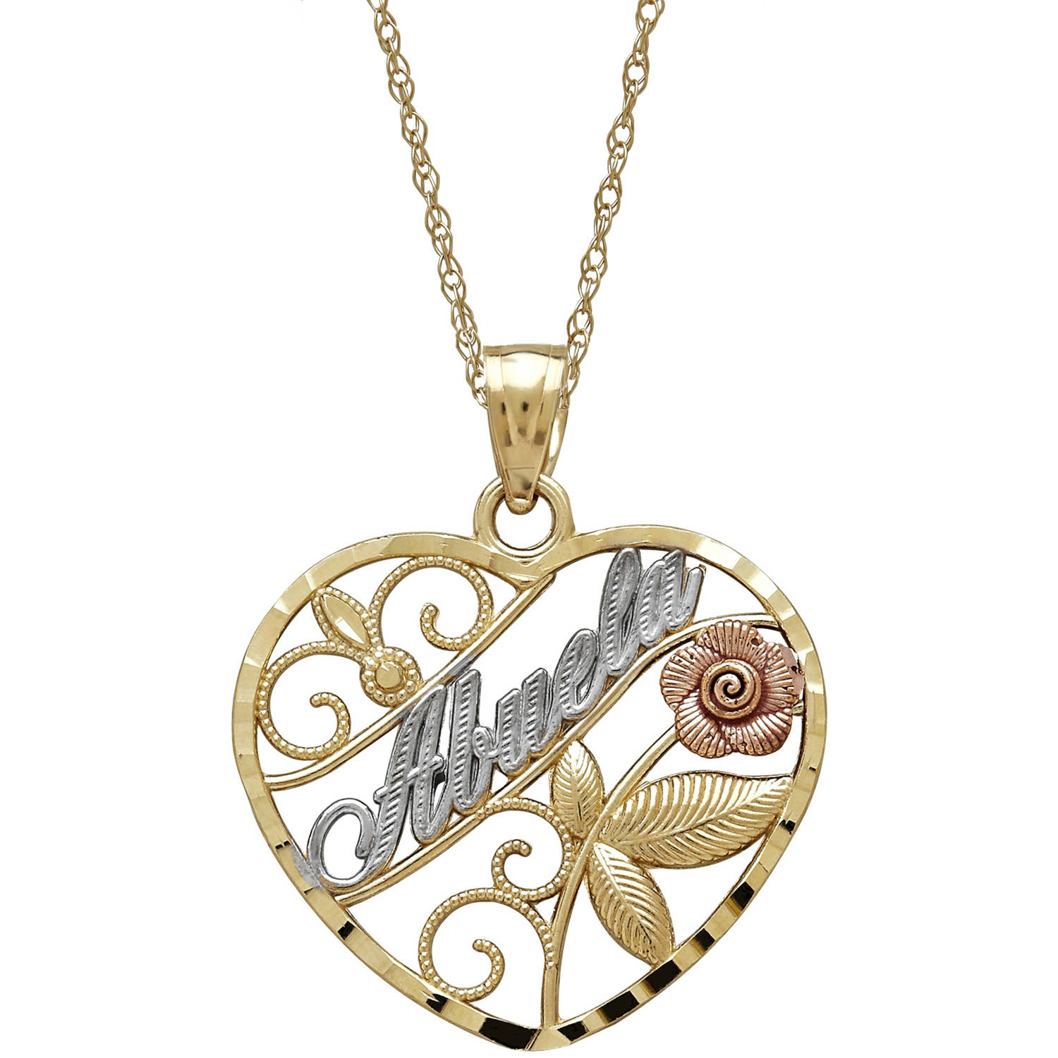 "Simply Gold Precious Sentiments 10kt Yellow, White and Pink Gold Heart with ""abuela"" (Grandmother) and Flower... by Richline Group Inc"
