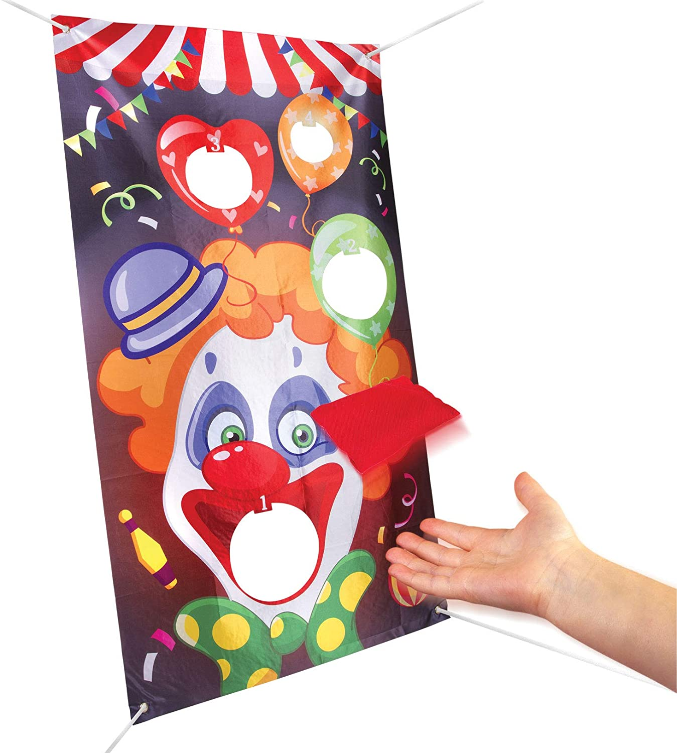 Indoor Outdoor Toss Game for Kids and Adults,Forest Throwing Game VegKey Bean Bag Toss Game with 3 Bean Bags Carnival Games Banner for Birthday Carnival Christmas Party Decoration