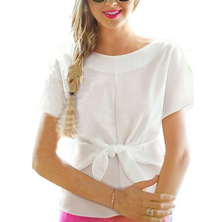 Women's Chiffon Short Sleeve Bow Tie T-Shirt
