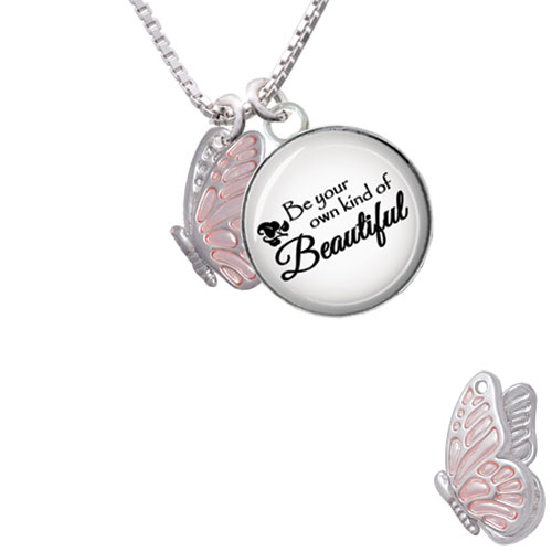 """Translucent Pink Flying Butterfly Be Your Own Beautiful Glass Dome Necklace, 18""""+2"""""""