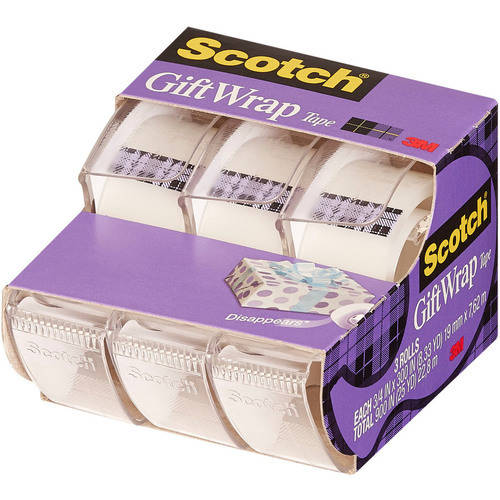 "3M Scotch Giftwrap Tape, .75"" x 300"", 3/pkg"