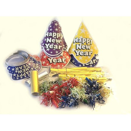 15 person New Years Eve party kit - multicolor hats tiaras horns leis and more (New Year Eve Hats)