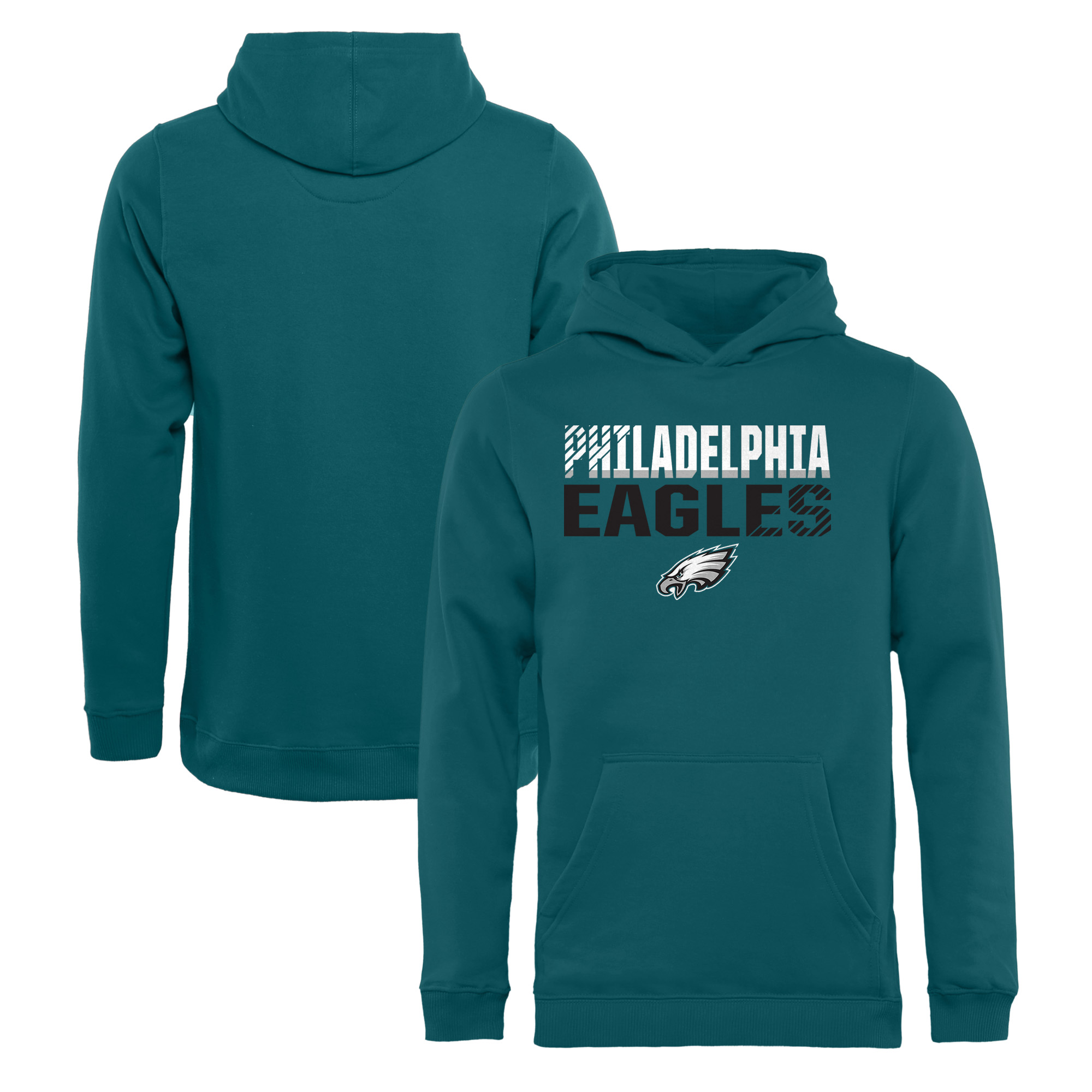 Philadelphia Eagles NFL Pro Line by Fanatics Branded Youth Iconic Collection Fade Out Pullover Hoodie - Midnight Green