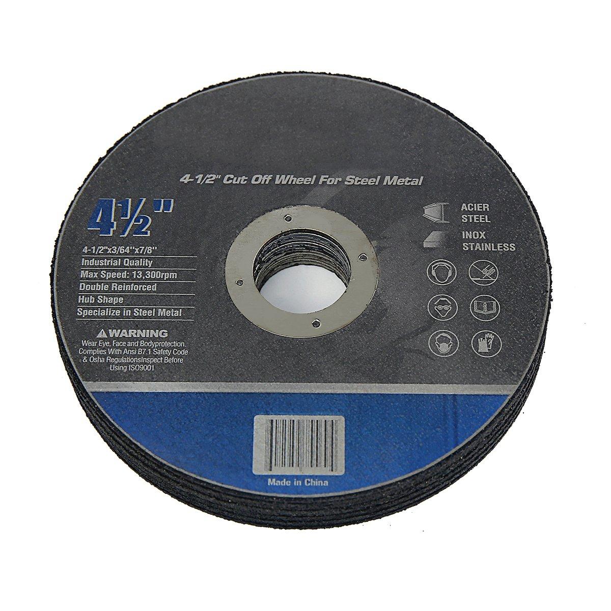 Cut-off Wheels 4-1/2 Inch by 3/64 Inch by 7/8 Inch Steel Metal (Set of 10)