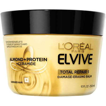 L'Oreal Paris Elvive Total Repair 5 Damage-Erasing Balm, Almond and Protein, 8.5 fl.